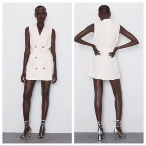NWT. Zara White Buttoned Vest Dress.  Size M.